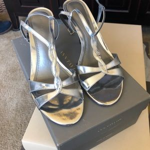 And Taylor T strap metallic silver sandals